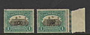 STAMP STATION Dominican #2 Overprints 1920 -1 Error MLH - Unchecked