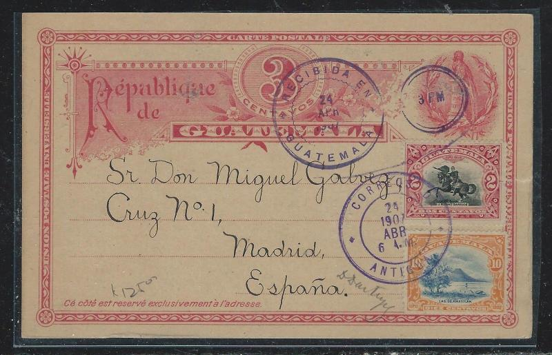 GUATEMALA (P2309B) 1907  3C PSC UPRATED 10C+2C TO MADRID SPAIN