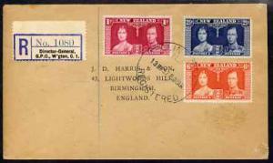 New Zealand 1937 KG6 Coronation set of 3 on reg cover wit...