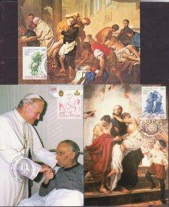 VATICAN POPE JOHN PAUL II 1986 3 MAXICARD S R18077