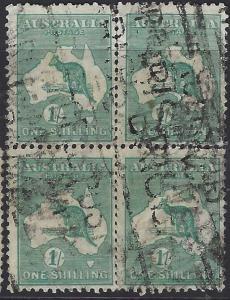 AUSTRALIA  (PP2607B)   KANGAROO  1/-   SG 109  BL OF 4  VFU