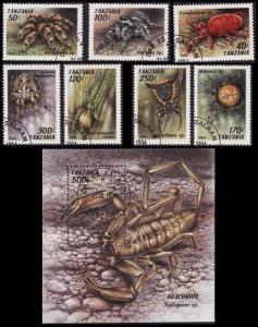 Tanzania Arachnids 7v+MS CTO MI#1798-8041+Block 255