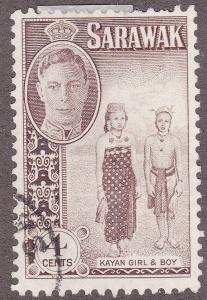 Sarawak 183 USED 1950 Kayan Girl & Boy