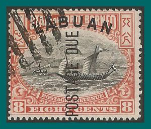 Labuan 1901 Postage Due, Malay Dhow, cancelled  #J6,SGD6b