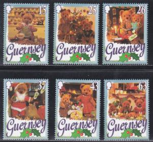 Guernsey # 609-614, Christmas - Teddy Bears, NH, 1/2 Cat.