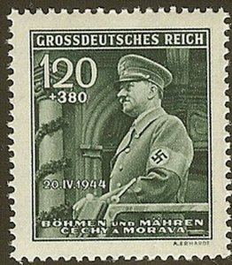 Stamp Germany Bohemia Czech Mi 137 Sc B26 1940 WW2 Fascism War Hitler MNH