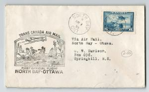 Canada 1939 First Flight Cover North Bay to Ottawa (Can-301e) - Z12847