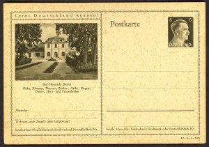 GERMANY 1941 6pf HITLER HEAD Learn to Know Germany Postal Card 42-6-1-B23 Unused