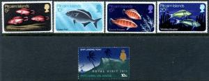 PITCAIRN IS. Sc#114-118 1971 Fish & Royal Visit Complete Sets Mint OG NH