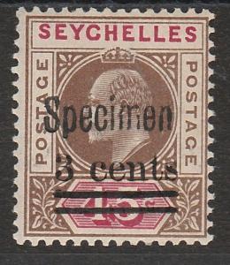 SEYCHELLES 1903 KEVII 3C ON 45C SPECIMEN