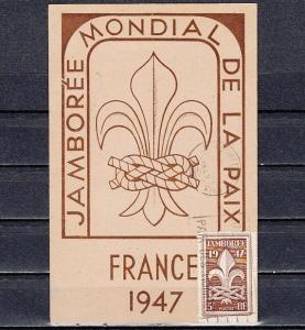 France, Scott cat. 587. 6th World Scout Jamboree issue on a Max. Card