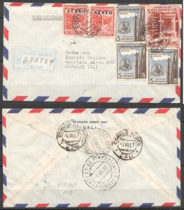 A0545 1957 COLOMBIA TO VENEZUELA ARCHITECTURE WATERFALL AIR MAIL VERY RARE FDC