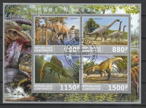 Gabon Used S/S Dinosaurs #1 2017