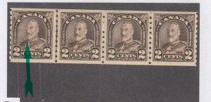 CANADA # 182iii VF-MLH COCKEYED KING LINE PAIR STRIP OF 4 COILS CAT VALUE $145