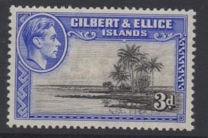 GILBERT & ELLICE ISLANDS;  1938 early GVI issue Mint hinged 3d. value, Shade