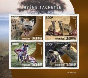 TOGO - 2019 - Spotted Hyena - Perf 4v Sheet - MNH