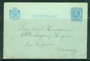 Netherlands H & G # 13, pse postal card, used, issued 1881