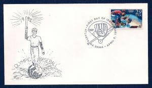 UNITED STATES FDC 29¢ Olympic Baseball 1992 Cacheted