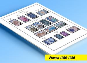 COLOR PRINTED FRANCE 1966-1980 STAMP ALBUM PAGES (54 illustrated pages)