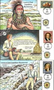 US Collins FDC SC#3854-3856 Lewis & Clark Expedition Bicentennial 4
