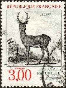 France 2124 - Used - 3fr Stag (Deer) (1988) (cv $0.85)