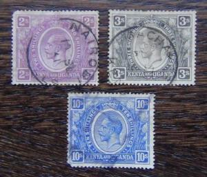 East Africa and Uganda 1922 2s Dull Purple 3s Brownish Grey 10s Bright Blue Used