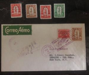 1930 S Pedro Sula Honduras Airmail Cover To New York USA Via Miami + Mint Stamps
