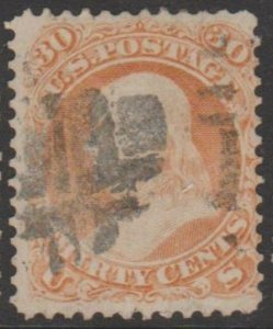 U.S. Scott #71 Franklin Stamp - Fancy Cancel - Used Single - IND