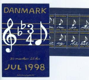 Denmark.  Booklet 1998. With 30 Christmas Seals Mnh. Music Notes