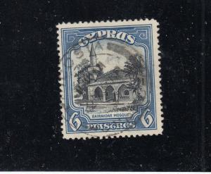 CYPRUS # 132 VF-USED  6pi BAIRAKDAR MOSQUE / BLUE & BLACK CAT VALUE $20