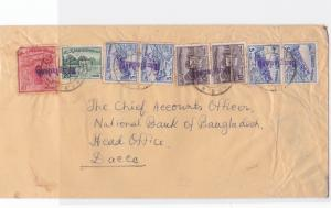 bangladesh early  overprint stamps on commercial stamps cover ref r15585