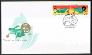 Christmas Is. Chinese New Year 'Year of the Rabbit' 2v FDC SG#466-467