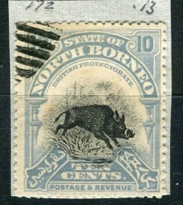 NORTH BORNEO; 1909 early pictorial issue fine used 10c. value