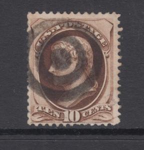 US Sc 161 used 1873 10c Jefferson w/ secret mark, Target Cancel