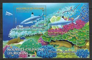 NEW CALEDONIA, 964, MNH, SS, SHARKS