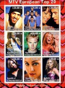 Turkmenistan 2001 Happy Valentine's Day Whitney Houston-Madonna  Shlt(9)