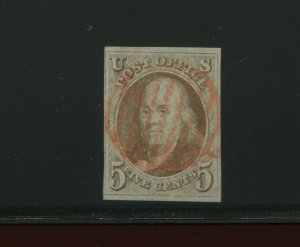 1 Franklin Imperf Used Stamp with Red Cancel with PSAG Cert (Stock 1 A33)