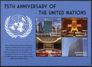 Antigua & Barbuda Architecture Stamps 2021 MNH United Nations UN 75 Years 4v M/S