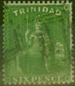 Trinidad 1860 1s Dp Green SG50 Fine Used