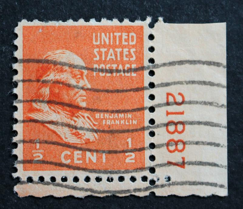 US Stamp Sc# 803 Used Plate Number Single 1938