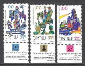 Israel MNH 642-4 W/Tabs Neither Slumber Nor Sleep Military 1977