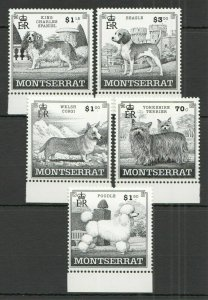 X0409 MONTSERRAT FAUNA PETS DOGS #1100-04 MICHEL 12 EURO 1SET FIX