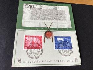 Germany Leipziger Fair 1947 postal stamps card Ref R28853