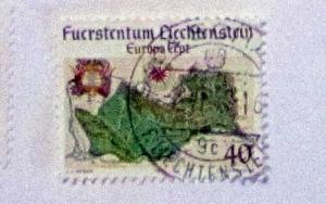 Liechtenstein - 615, Used. Map of Liechtenstein. SCV - $0.40