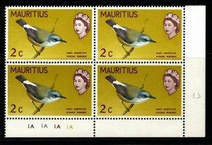 MAURITIUS SG370 1968 2c BIRDS CHANGED COLOUR MNH BLOCK OF 4