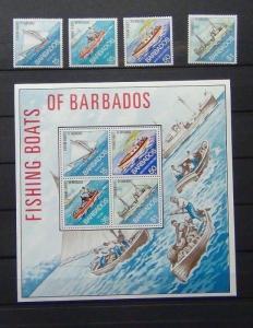 Barbados 1974 Fishing Boats of Barbados set and Miniature Sheet MNH