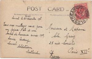 Great Britain 1d KEVII 1908 Coldstream to Paris, France.
