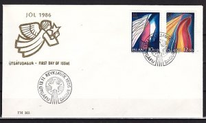 Iceland, Scott cat. 635-636. Christmas Art. First day cover. ^