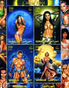 Somalia 2003 Carlos Diez Comic Art NUDES Sheet (4) Perforated mnh.vf