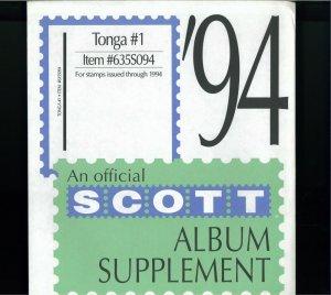 1994-2001 Tonga Scott Stamp Album Supplement Pages
